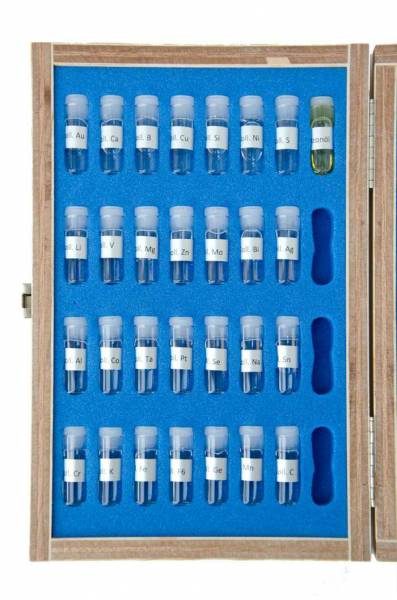Test kit with samples of 28 different colloidal minerals