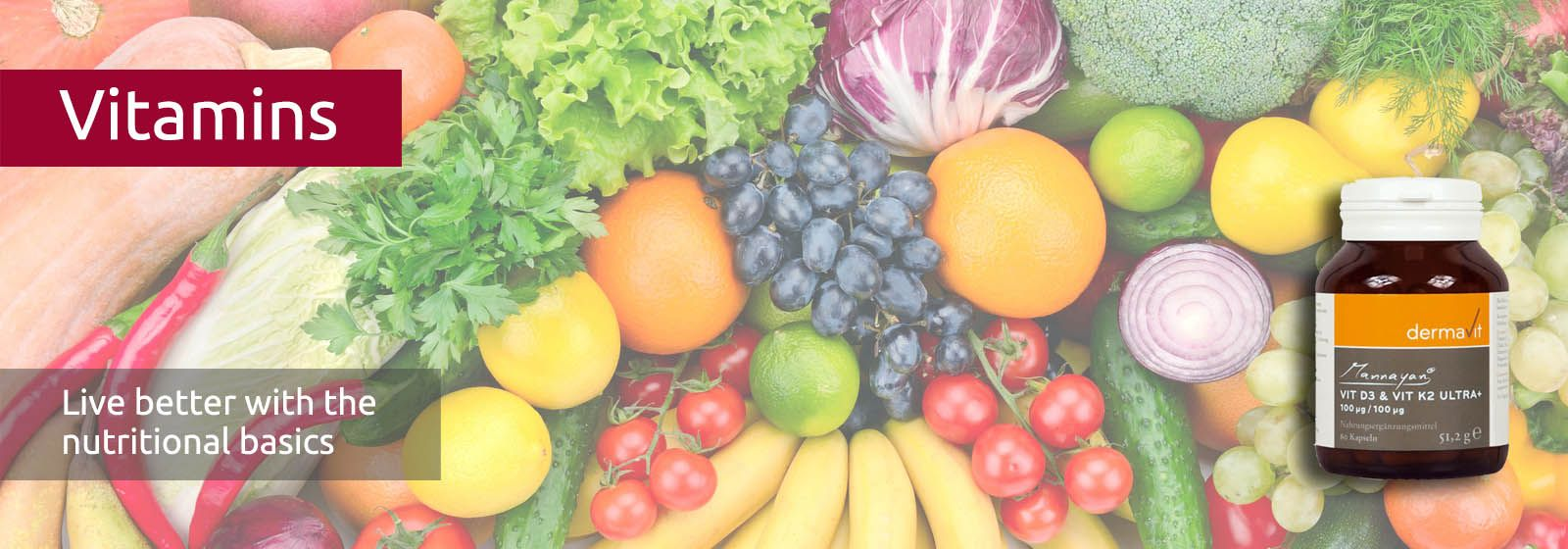 Fresh, tasty vegetables and fruit contain many vitamins
