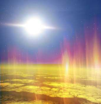 You can see the sun, space and the ozone layer around the earth