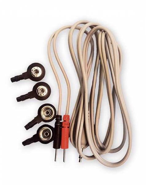 A beige cable with red and black plug for frequency therapy with Diamond Shield Zapper. Four push button adapters are also included (4mm and 10mm) so that the cable fits all accessories
